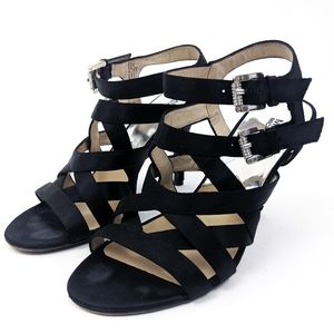 Michael Kors Strappy Cage Party Heels Black 7.5